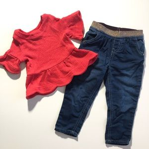 2T Osh Kosh Girl Fall Outfit Jeans Bell Sleeve Top
